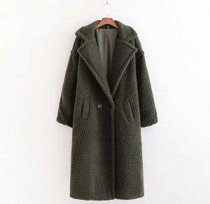 Женское пальто чебурашка, цвет темно-зеленый