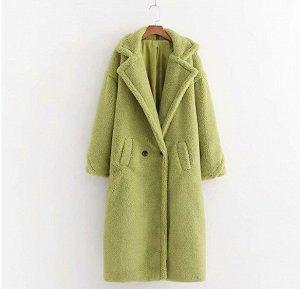 Женское пальто чебурашка, цвет зеленый