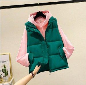 Женский стеганый жилет, застежка-молния, цвет зеленый