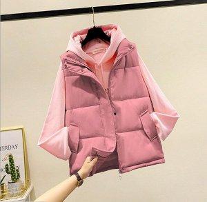Женский стеганый жилет, застежка-молния, цвет розовый