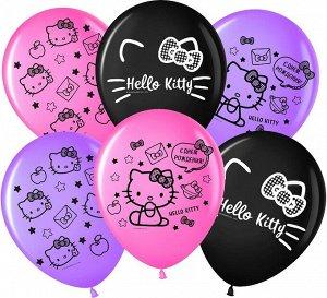 """Воздушный шар латексный с рисунком 12""""/30 см  пастель """"Hello Kitty С днем рождения!"""" ассорти"""