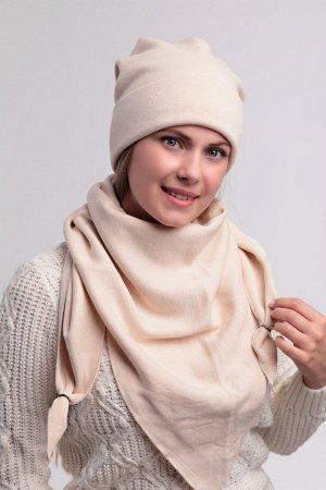 Комплект комплект (54-58) зима, светло-бежевый, подклад флис -  трикотаж ангора