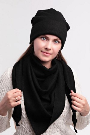 Комплект комплект (54-58) зима, чёрный, подклад флис -  трикотаж ангора