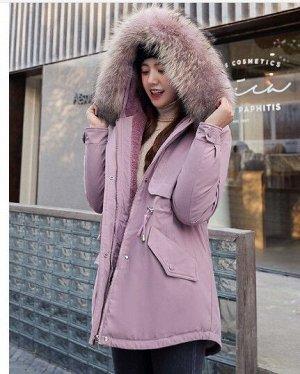 """Женская зимняя парка, принт """"Снежинка"""" на спине,с кнопками на рукавах, цвет розовый"""
