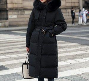Женский длинный зимний пуховик, цвет черный