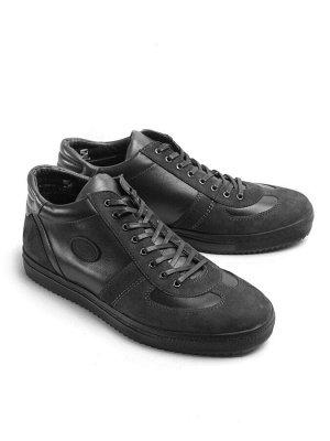 Ботинки демисезонные мужские, черный нубук байка, шнурки