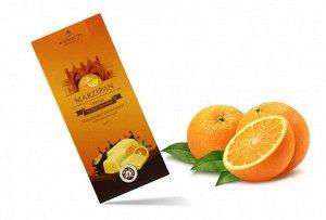 Марципан с апельсином  в темном  шоколаде, миндаль 37,5% содержание какао 55 %  85 г. Срок годности 12 месяцев с даты производства.
