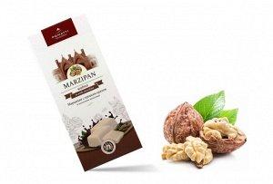 Марципан с грецким орехом в молочном шоколаде, миндаль 44% содержание какао 35,5 %  85 г. Срок годности 10 месяцев с даты производства.