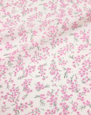 """Штапель """"Весенние розовые цветочки на белом"""", ш.1.46м, вискоза-100%, 100гр/м.кв"""