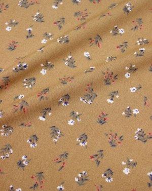 Штапель Весенние букетики на карамельно-коричневом, СОРТ2, ш.1.42м, вискоза-100%, 110гр/м.кв