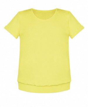 Жёлтая футболка для девочки с поясом и манжетами Цвет: желтый