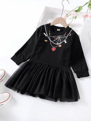 Платье с принтом паутины и цепи на хэллоуин для девочек