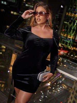 Размера плюс Облегающее платье со сборками с глубоким декольте с цепочкой бархатный