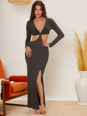 Платье с разрезом высоким разрезом