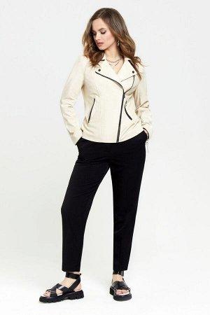 Куртка Куртка TEZA 948 молочный  Состав: Вискоза-10%; ПЭ-90%; Сезон: Весна Рост: 164  Модная кожаная куртка-косуха. Пиджачный воротник, небольшие кокетки и подрез по переду. Застежка на молнию, проре