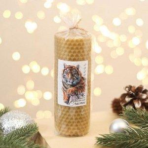 Свеча из вощины «Новый год 2022», 13х4,5 см