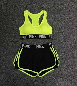 Женский Комплект для фитнеса и спорта. Топ и шорты