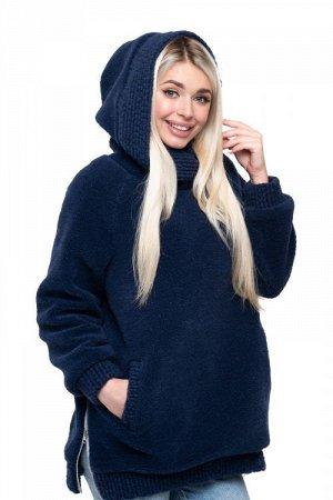 Толстовка женская из овечьей шерсти оверсайз FOR WOMEN (с капюшоном, цвет Индиго) цвет СИНИЙ