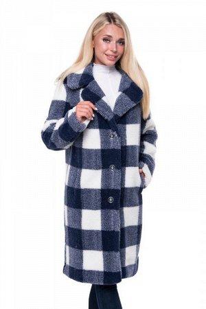 Пальто стильное из овечьей шерсти CLASSIС клетка СИНИЙ