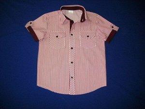 Сорочка короткий рукав Паты с карманами белая с бордовой полоской школьная ростовка