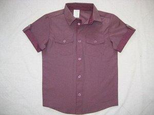Сорочка короткий рукав Паты с карманами Полоска темная брусника школьная ростовка