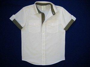 Сорочка короткий рукав Паты с карманами белая с хакки школьная ростовка