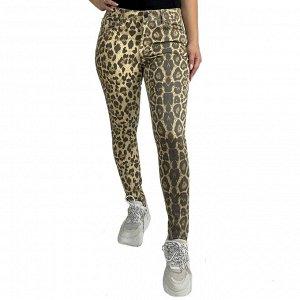 Женские зауженные леопардовые брюки Pieces - Хищный принт рекомендован уверенным в себе и утонченным девушкам №1004