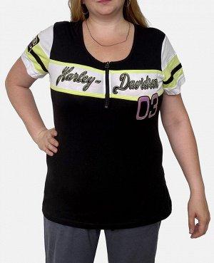 Женская футболка большого размера Harley-Davidson – стиль на пышные формы с принтами и аппликациями №2005