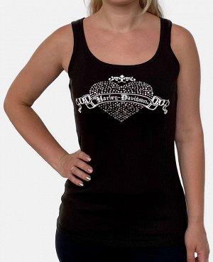 Женская майка Harley-Davidson со стразами – брутально-романтическая композиция на груди  №2020