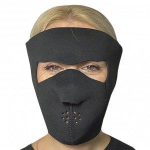 Полнолицевая медицинская неопреновая маска Skulskinz Black - Многоразовая защитная маска черного цвета. Очень удобна в ежедневном ношении и для занятий активными видами спорта. Надежная защита от коро