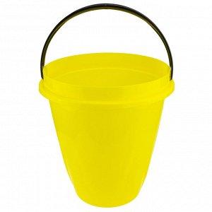 """Ведро пищевое пластмассовое """"Лайт"""" 10л, д30см, h29см, желтый (Россия)"""