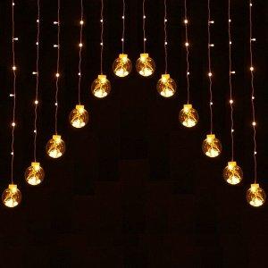 Светодиодная гирлянда бахрома-арка Шары, 3 м, 8 режимов, 136 LED, 16 шаров, свечение теплый белый