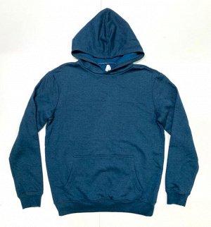Толстовка мужская синего цвета с капюшоном  №7261
