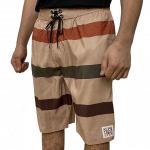 Мужские шорты Septwolves песочного цвета в полоску №5006