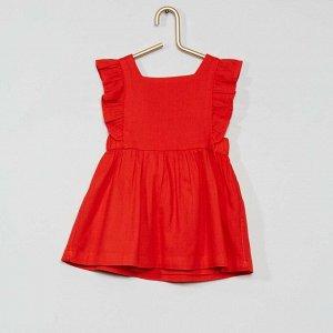 Комплект платье + шорты-шаровары из экологически чистого материала - красный