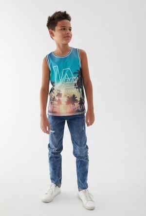 Брюки джинсовые детские для мальчиков Byakua темно-синий