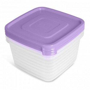 Набор контейнеров 3 шт, 0,9 л, квадратный, пластик, УНИКО