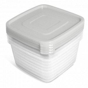 Набор контейнеров 4 шт, 0,9 л, квадратный, пластик, УНИКО