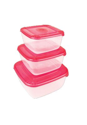 Набор емкостей 3 шт, (0,95 л, 1,5 л, 2,5 л), квадратный, пластик, коралловый, POLAR
