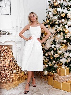 Платье пышное - юбка миди из атласа. Цвет молочное