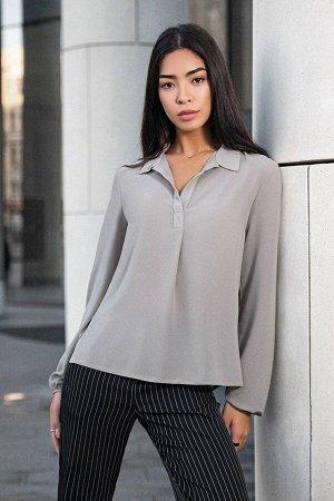 Серая шифоновая блуза с длинным рукавом Маргарет 21277 от It Elle