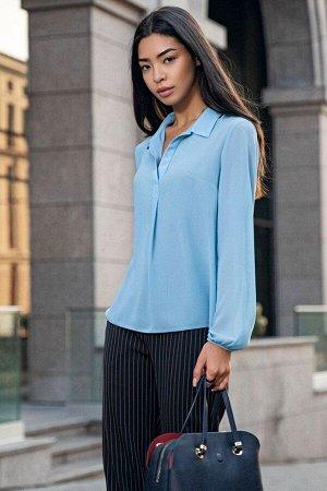 Голубая шифоновая блуза с длинным рукавом Мерседес 21276 от It Elle