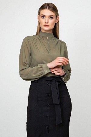Шифоновая блуза с длинным рукавом цвета хаки Лиллиан 21217 () 21219 от It Elle