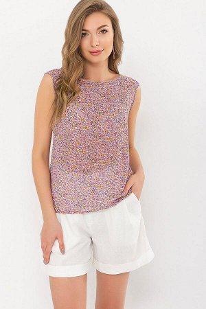 Блуза Виринея б/р сиреневый-оранж.м.цветы p70961 от Glem