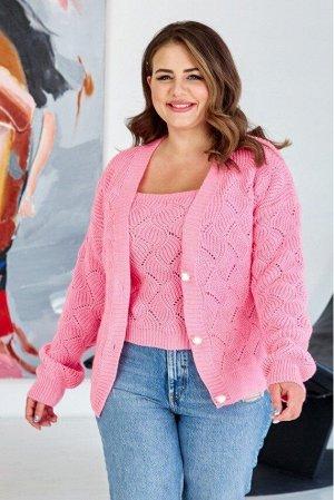 "Вязаная кофта ""Мая"" - розовый 8510005 от Prima Fashion Knit"
