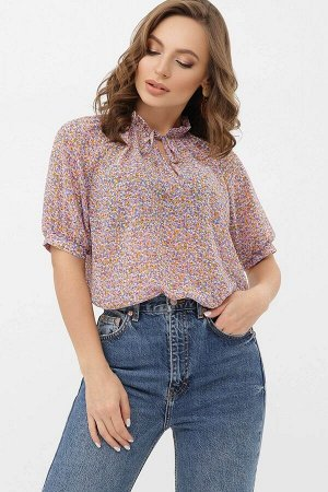 Блуза Ольви к/р сиреневый-оранж.м.цветы p68540 от Glem