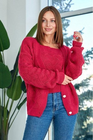 "Вязаная кофта ""Мая"" - малина 8510001 от Prima Fashion Knit"