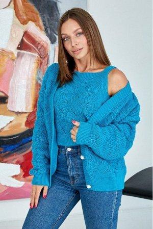 """Вязаная кофта """"Мая"""" - бирюза 8510003 от Prima Fashion Knit"""