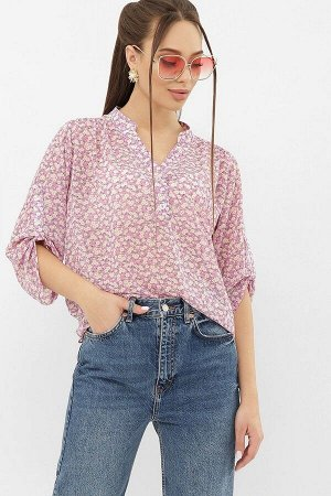 Блуза Севара 3/4 сиреневый-м. цветы p68272 от Glem