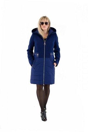 Пальто комбинированное женское осень-весна «ODRI» (цвет сапфир) 97 от Vicco